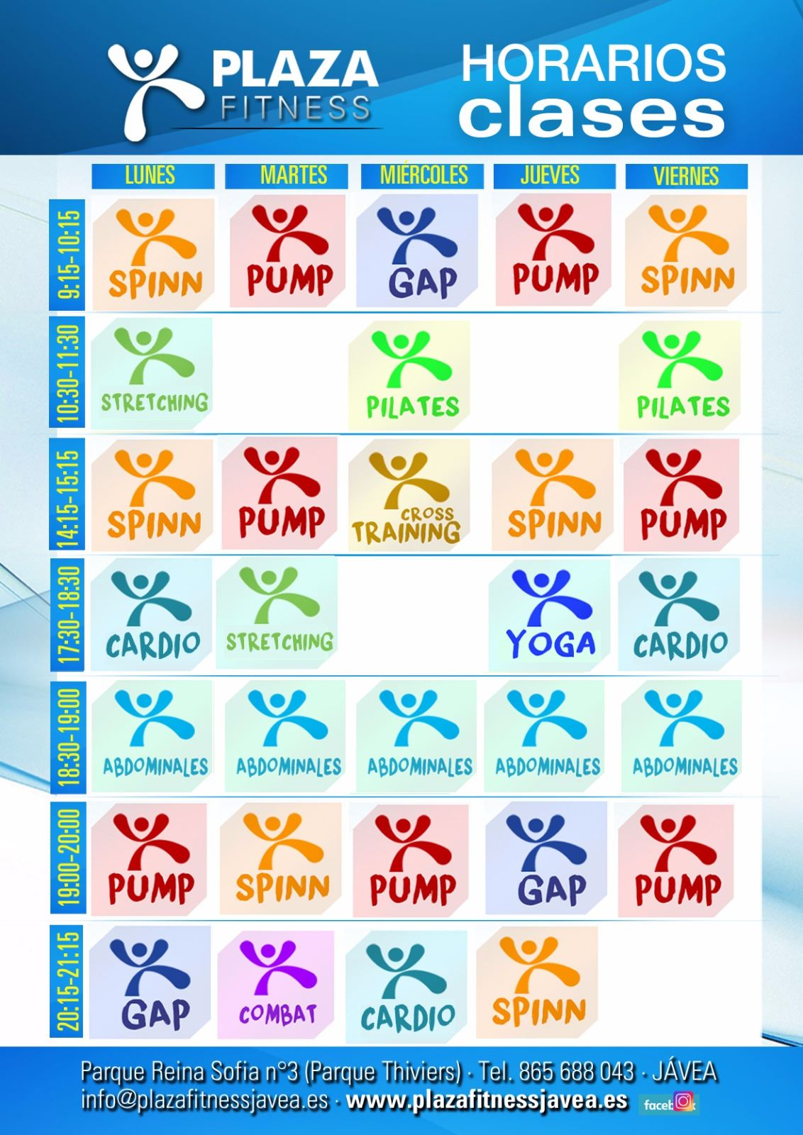 Horarios Clases Plaza Fitness Javea